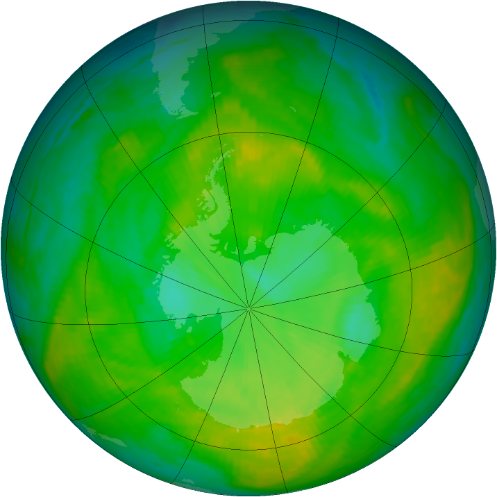 Antarctic ozone map for 15 December 1988