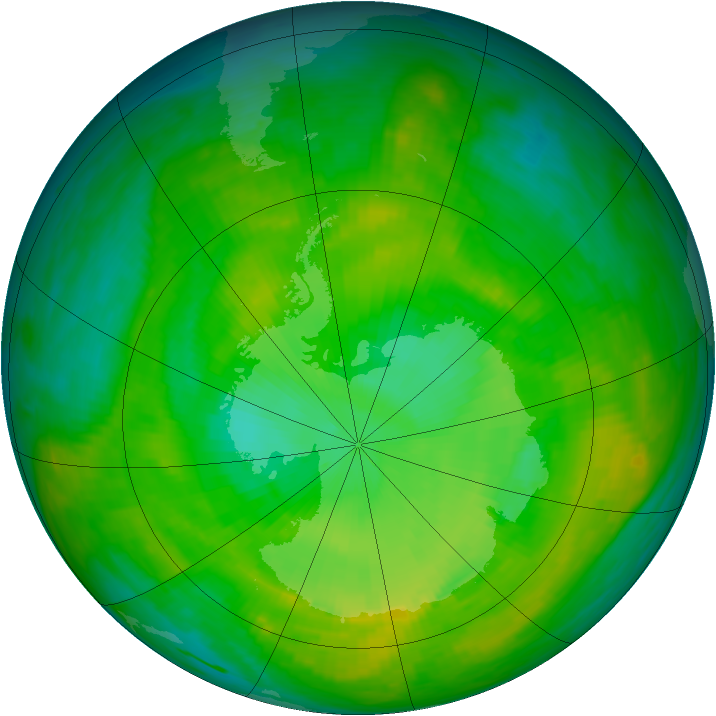 Antarctic ozone map for 16 December 1988