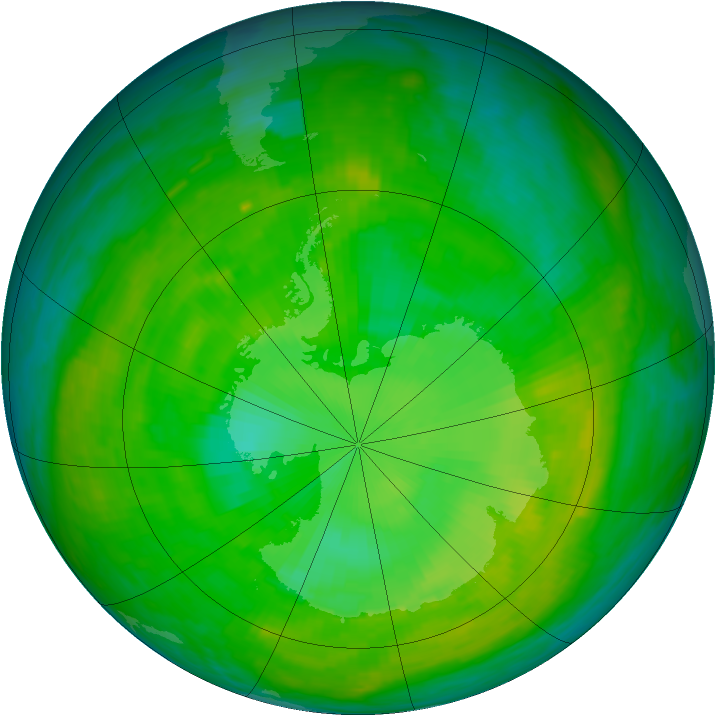 Antarctic ozone map for 20 December 1988