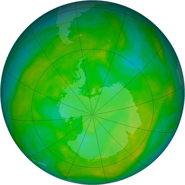 Antarctic ozone map for 21 December 1988