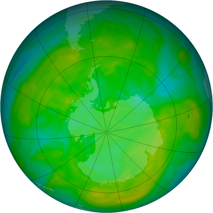 Antarctic ozone map for 22 December 1988