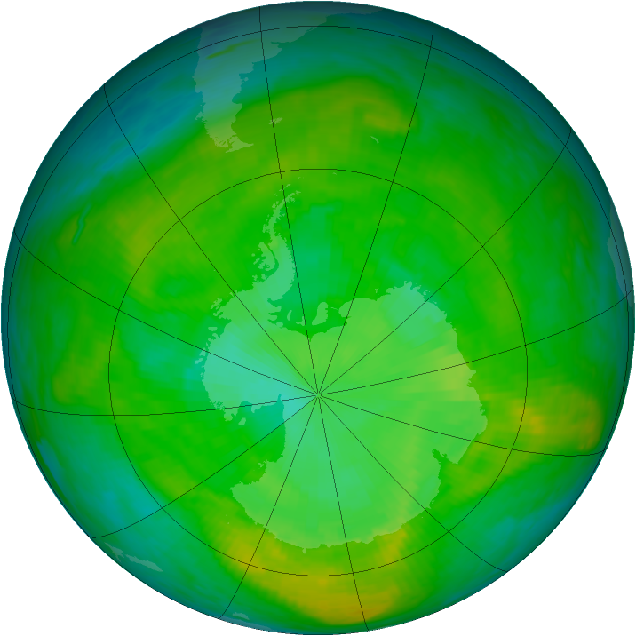 Antarctic ozone map for 24 December 1988