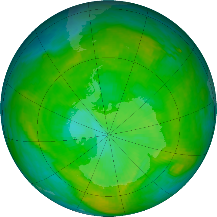Antarctic ozone map for 25 December 1988