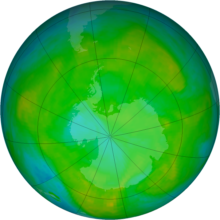 Antarctic ozone map for 26 December 1988