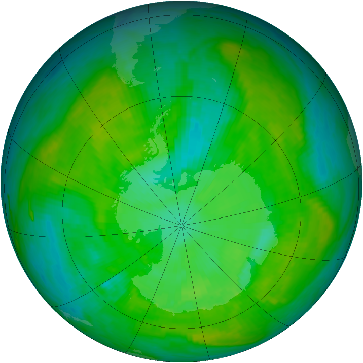 Antarctic ozone map for 31 December 1988