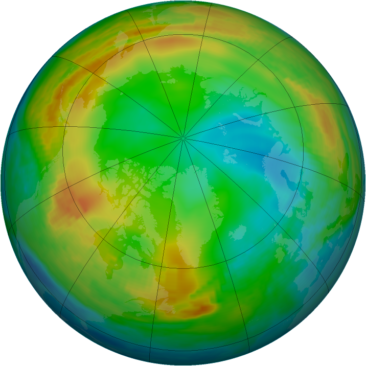 Arctic ozone map for 02 January 1989