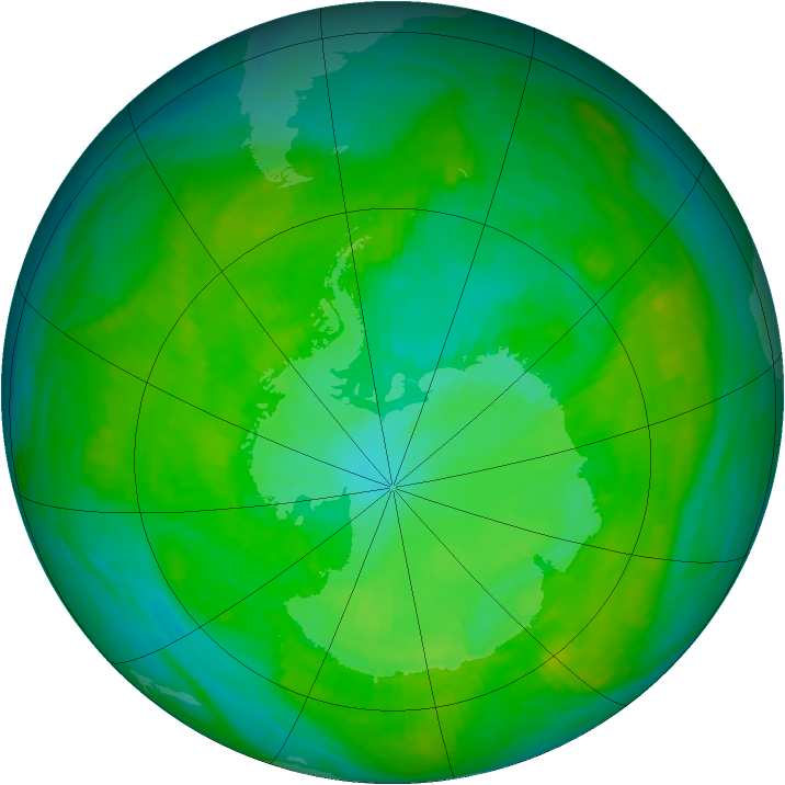 Antarctic ozone map for 02 January 1989