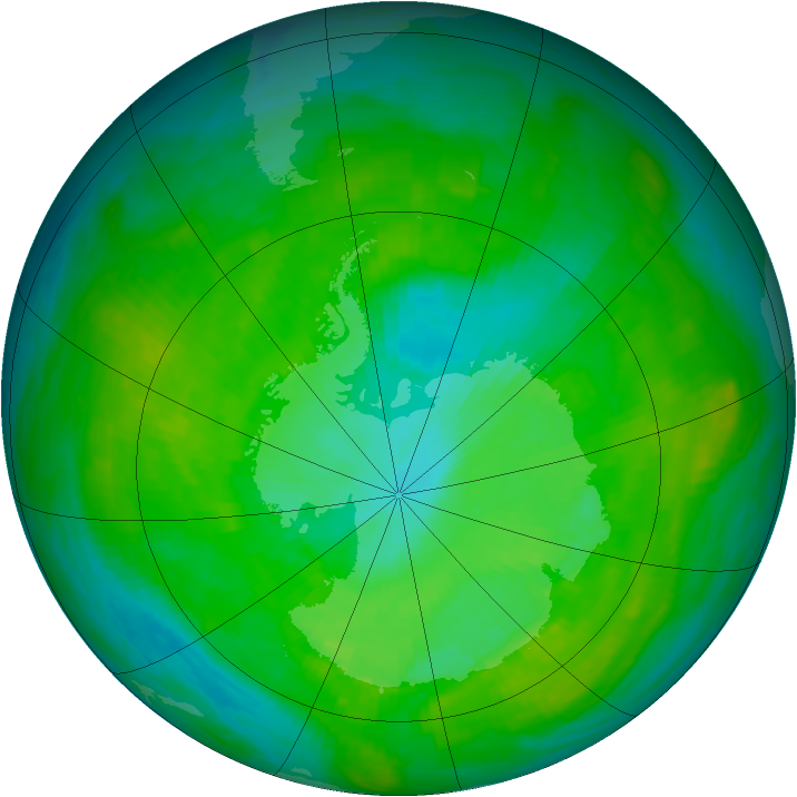 Antarctic ozone map for 03 January 1989
