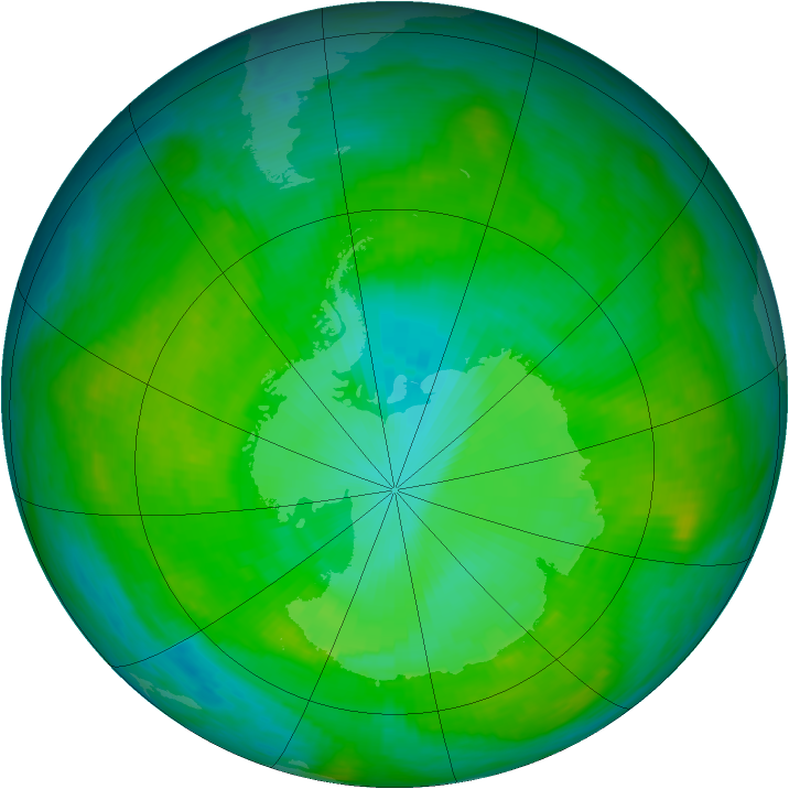 Antarctic ozone map for 04 January 1989