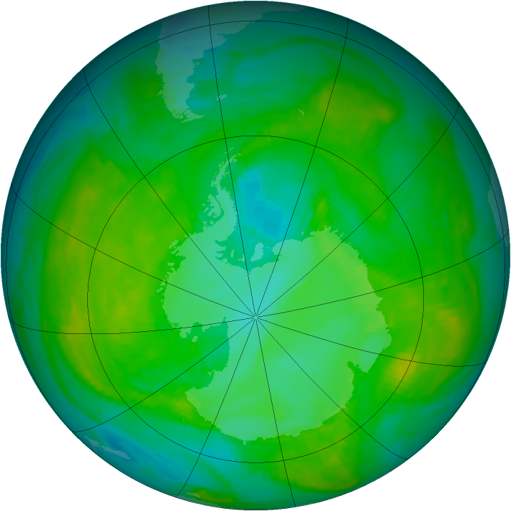Antarctic ozone map for 05 January 1989