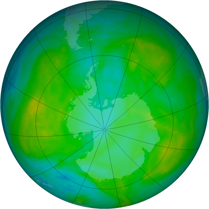 Antarctic ozone map for 06 January 1989