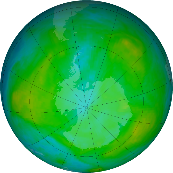 Antarctic ozone map for 07 January 1989