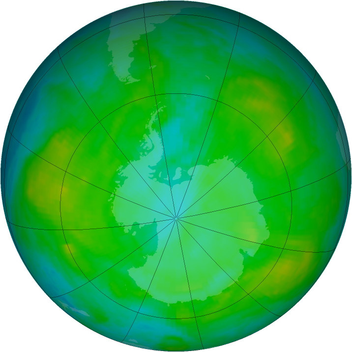 Antarctic ozone map for 08 January 1989