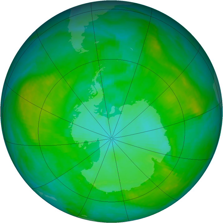 Antarctic ozone map for 11 January 1989