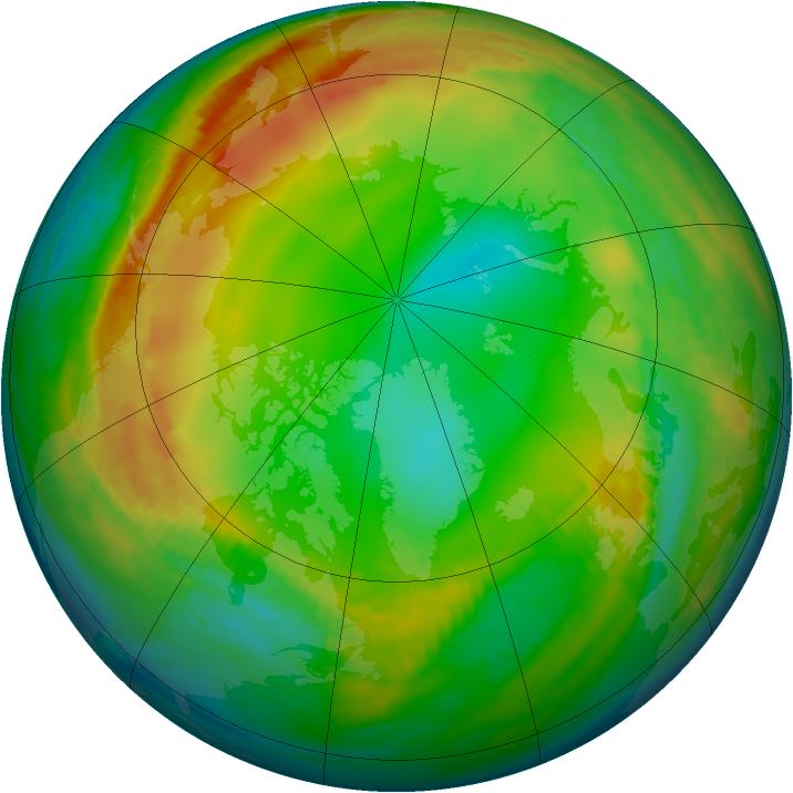 Arctic ozone map for 14 January 1989