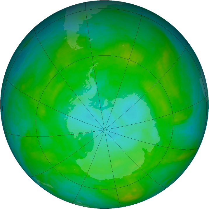 Antarctic ozone map for 14 January 1989