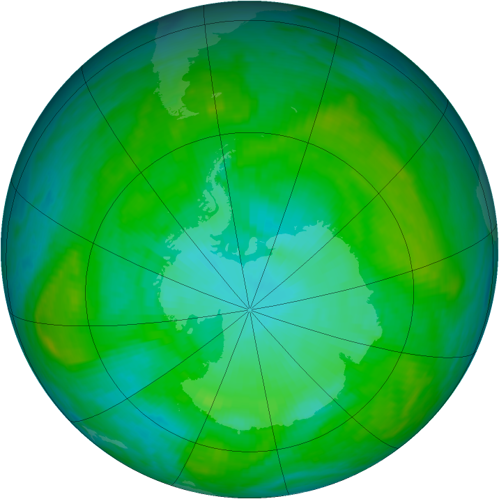 Antarctic ozone map for 17 January 1989