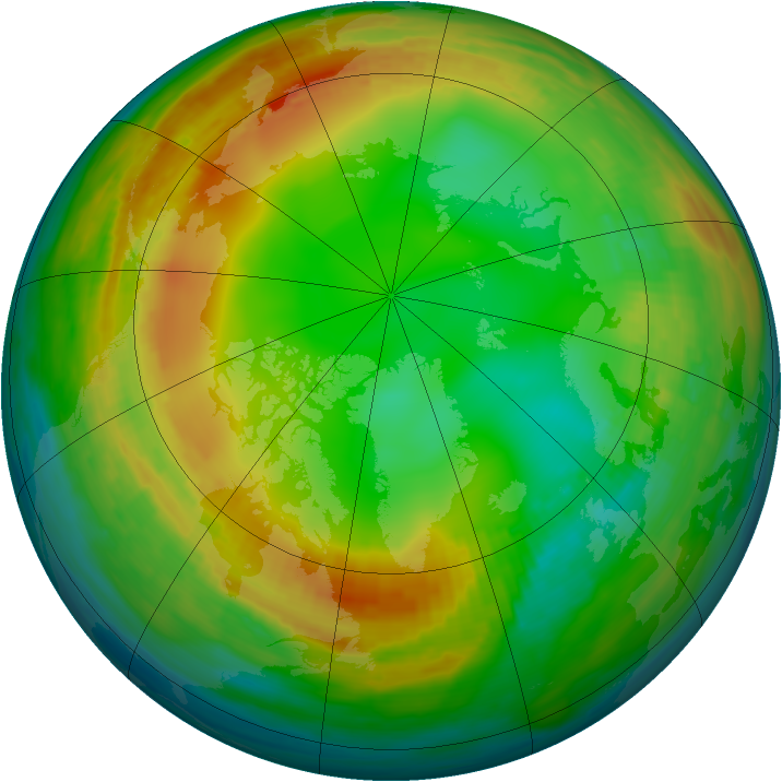 Arctic ozone map for 18 January 1989