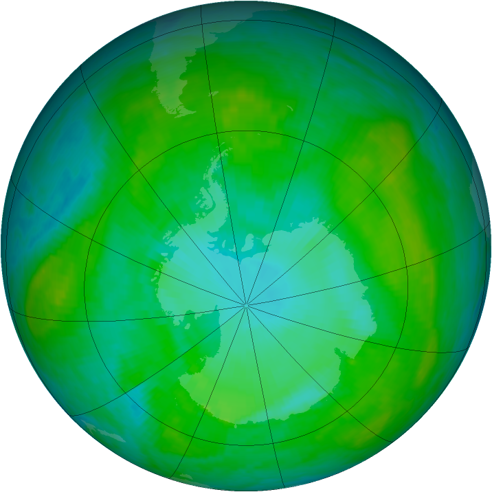 Antarctic ozone map for 18 January 1989