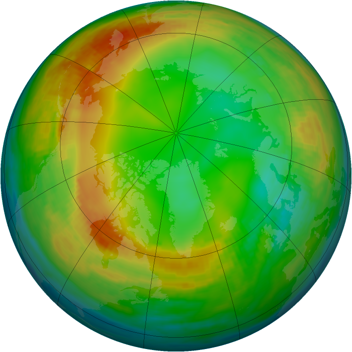 Arctic ozone map for 19 January 1989