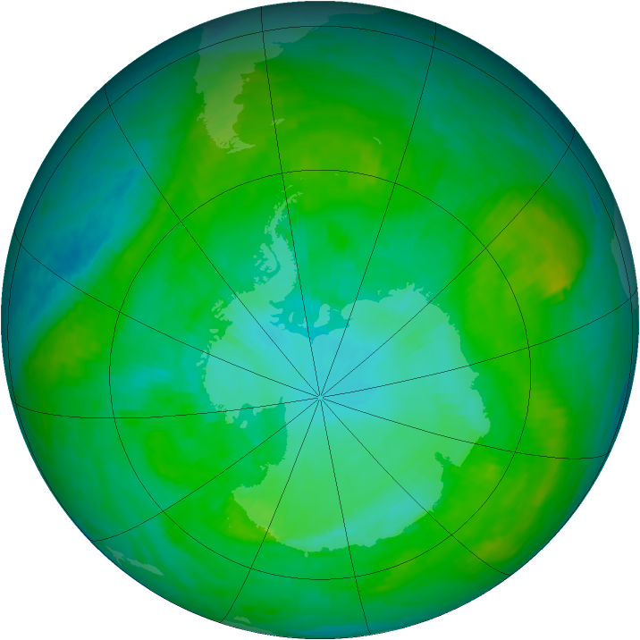 Antarctic ozone map for 19 January 1989