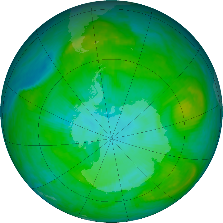 Antarctic ozone map for 20 January 1989