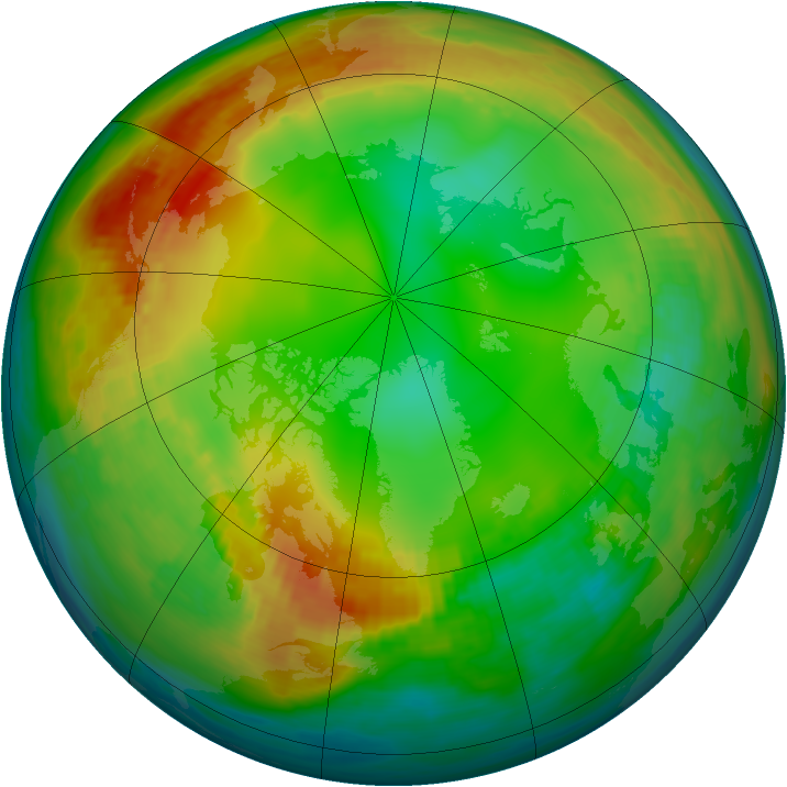 Arctic ozone map for 21 January 1989