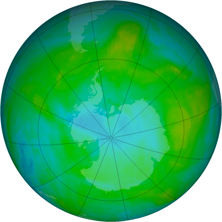 Antarctic ozone map for 22 January 1989