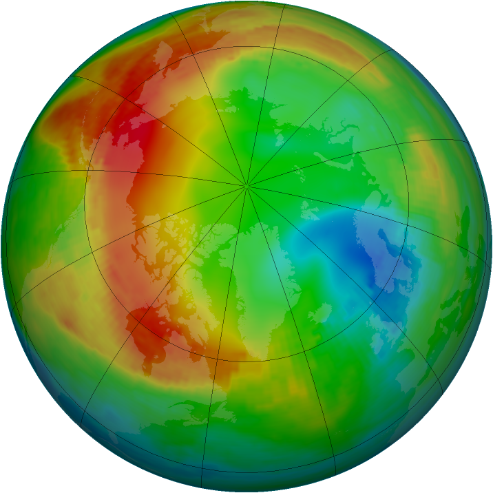 Arctic ozone map for 24 January 1989
