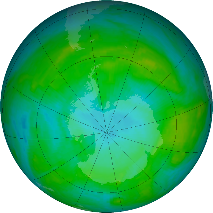 Antarctic ozone map for 24 January 1989