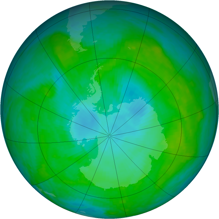 Antarctic ozone map for 27 January 1989