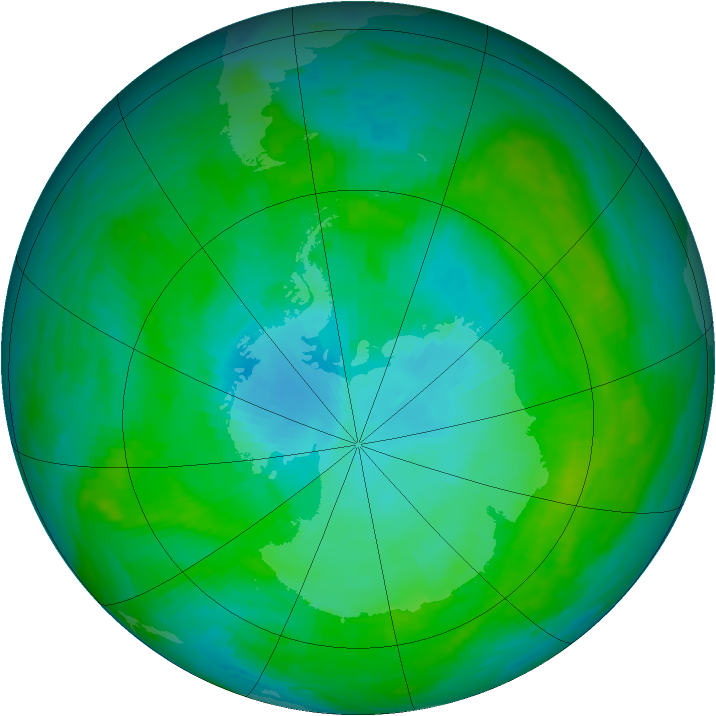 Antarctic ozone map for 28 January 1989