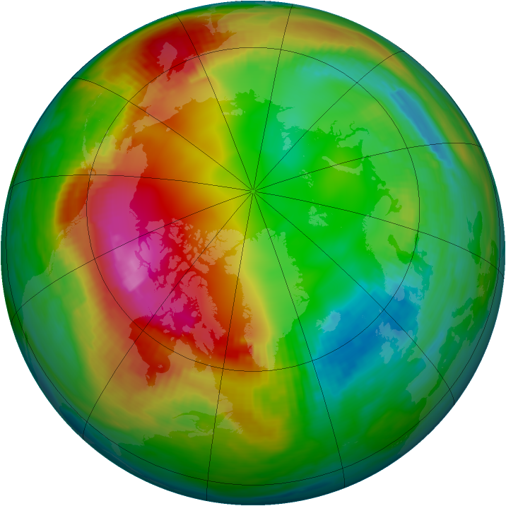 Arctic ozone map for 30 January 1989