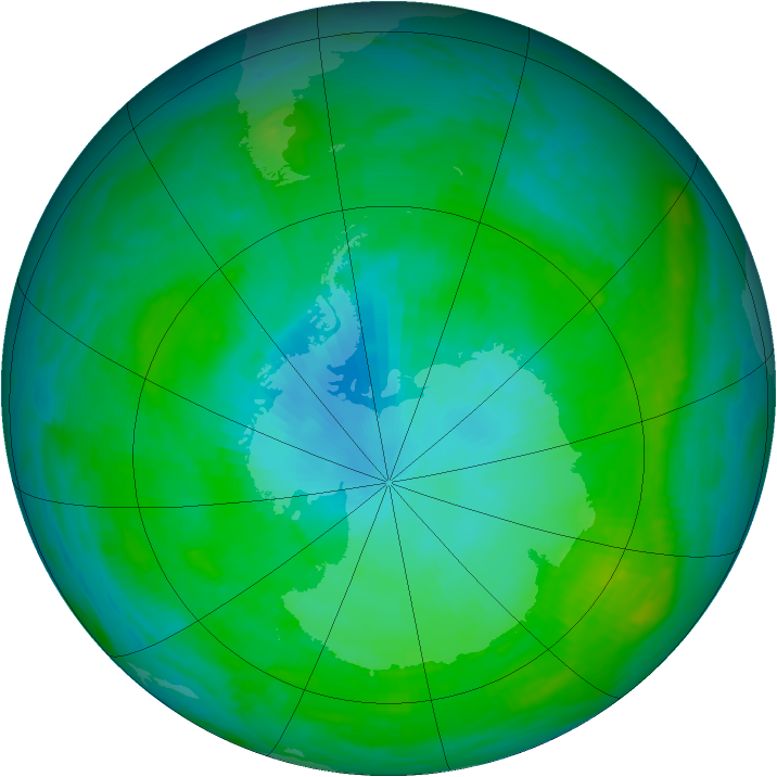Antarctic ozone map for 30 January 1989