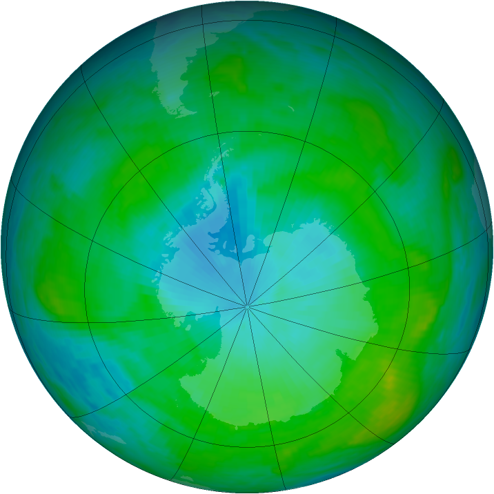 Antarctic ozone map for 31 January 1989