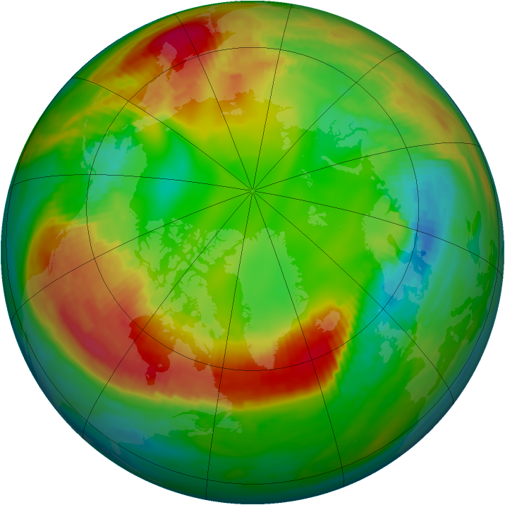 Arctic ozone map for 03 February 1989