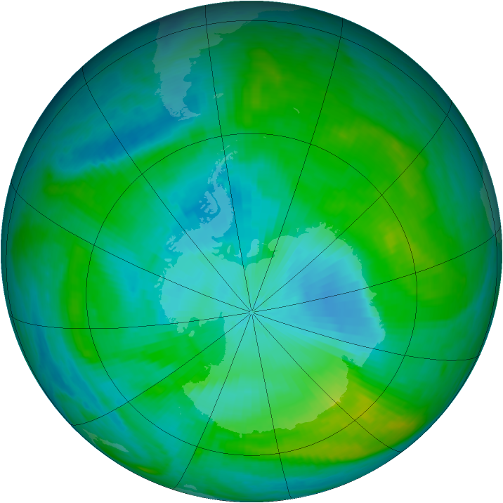 Antarctic ozone map for 03 February 1989