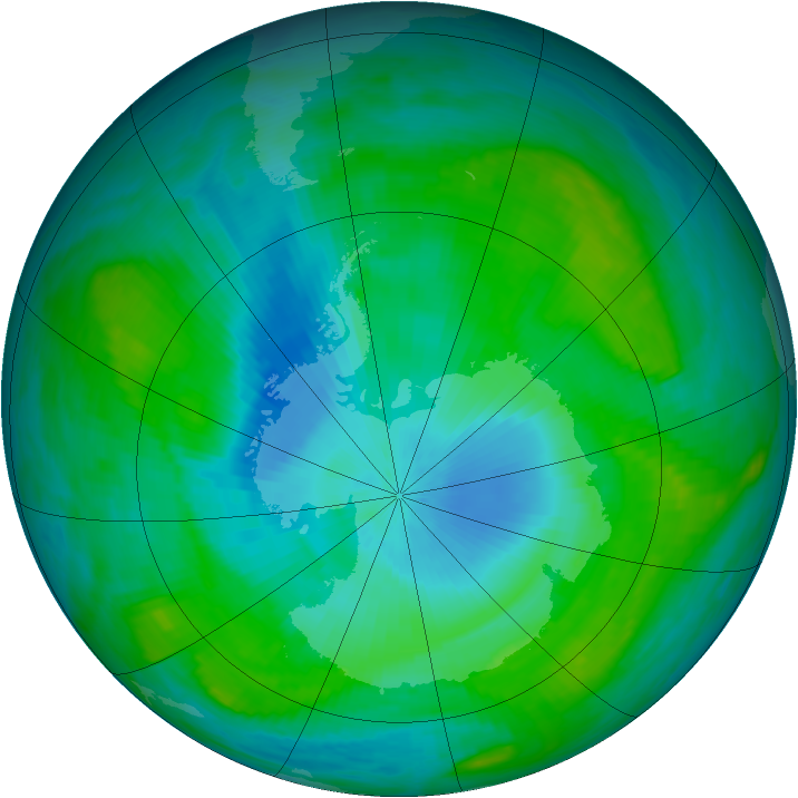 Antarctic ozone map for 06 February 1989