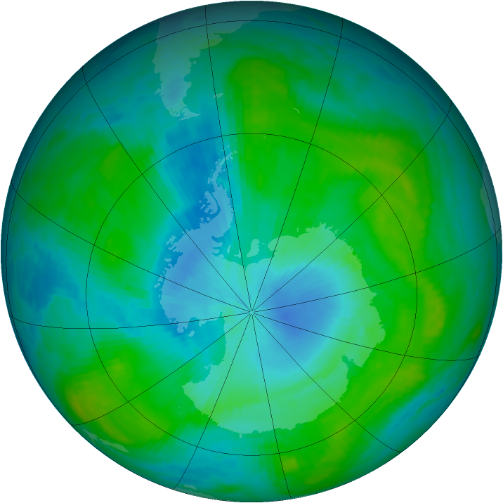 Antarctic ozone map for 07 February 1989