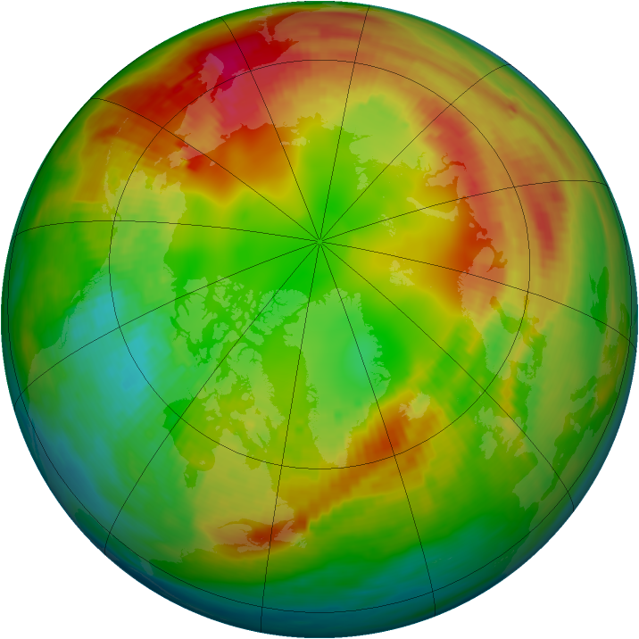 Arctic ozone map for 09 February 1989
