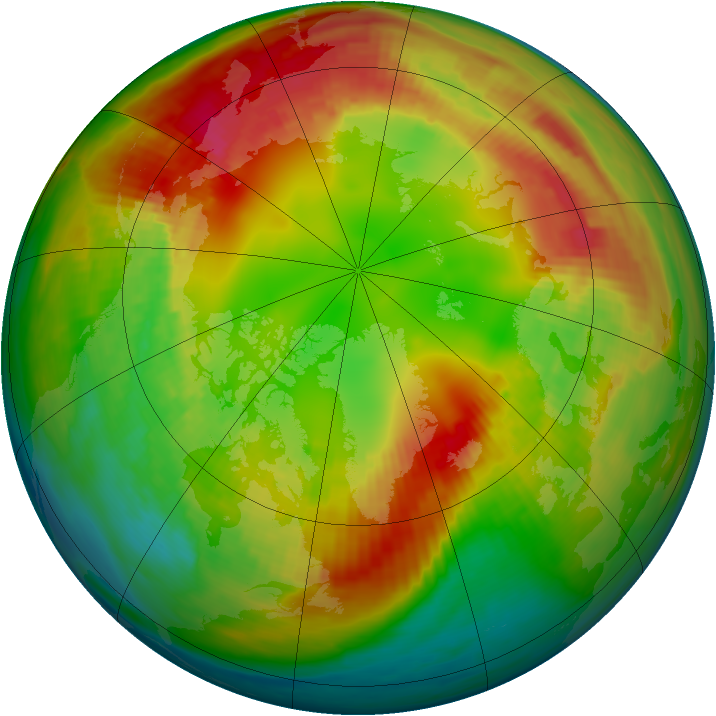 Arctic ozone map for 10 February 1989