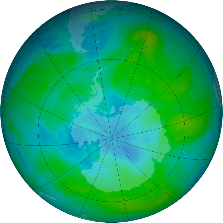 Antarctic ozone map for 14 February 1989