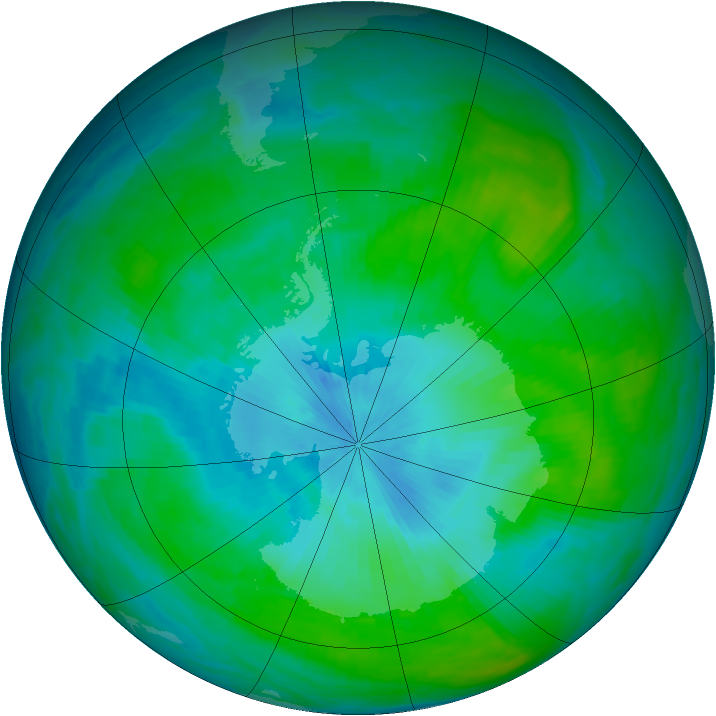 Antarctic ozone map for 15 February 1989