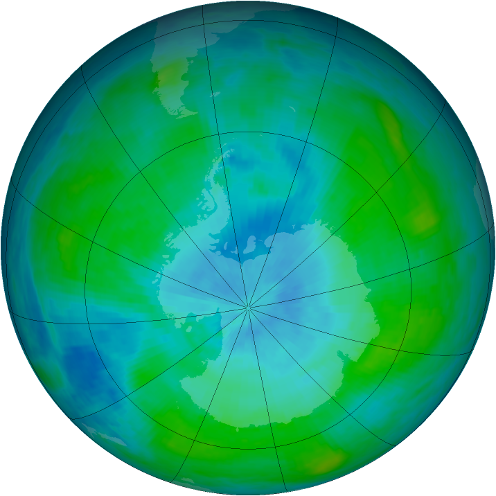 Antarctic ozone map for 22 February 1989