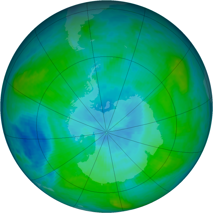 Antarctic ozone map for 23 February 1989
