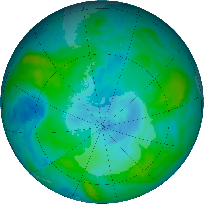 Antarctic ozone map for 24 February 1989