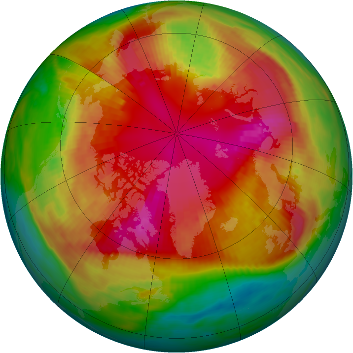 Arctic ozone map for 26 February 1989