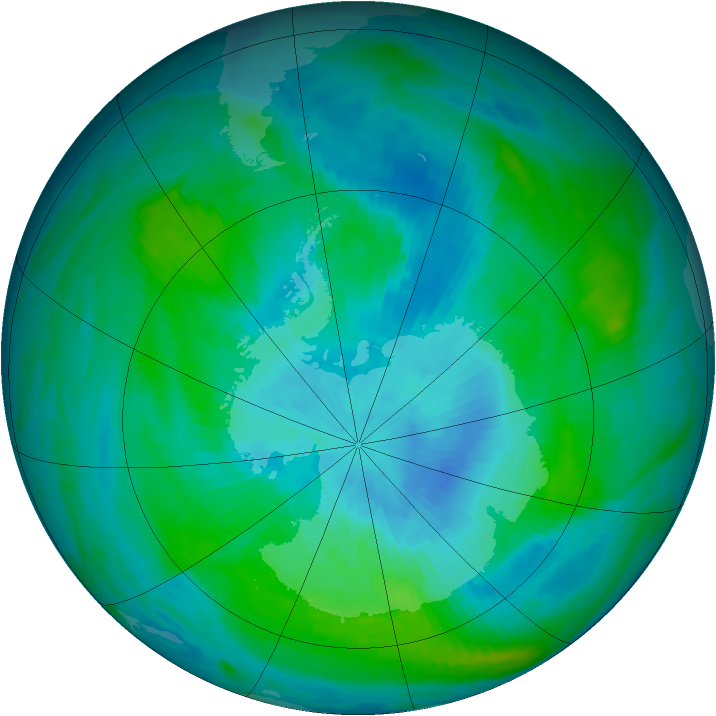 Antarctic ozone map for 26 February 1989