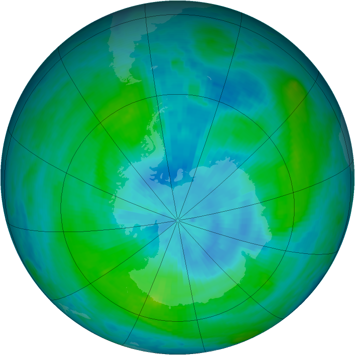Antarctic ozone map for 27 February 1989