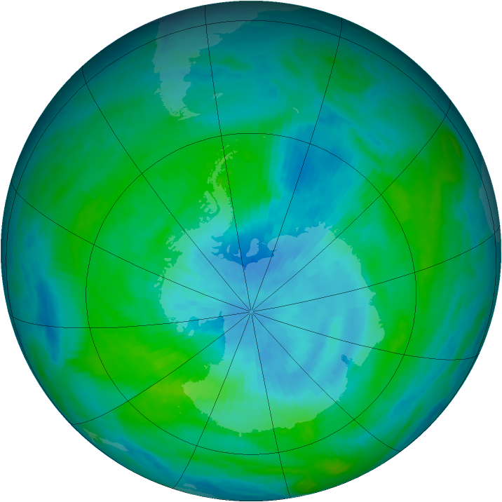 Antarctic ozone map for 28 February 1989